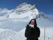 Eating snow at Jungfraujoch